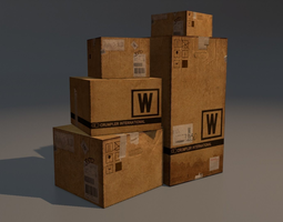 3d asset shipping boxes game-ready