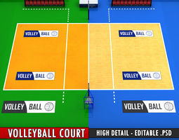 volleyball court high detail low poly 3d model low-poly max obj 3ds fbx mtl