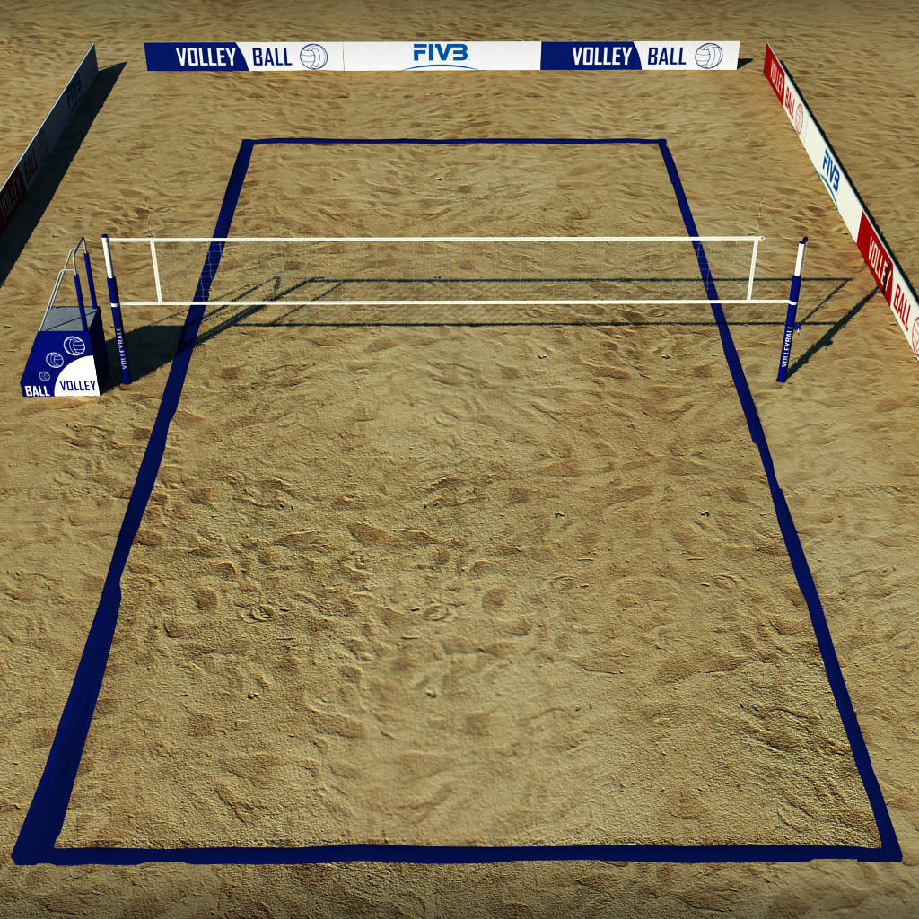Beach Volleyball Court Low Poly Model Max Obj Mtl S Fbx 6