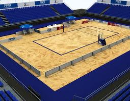 volleyball beach court stadium high detail 3d model