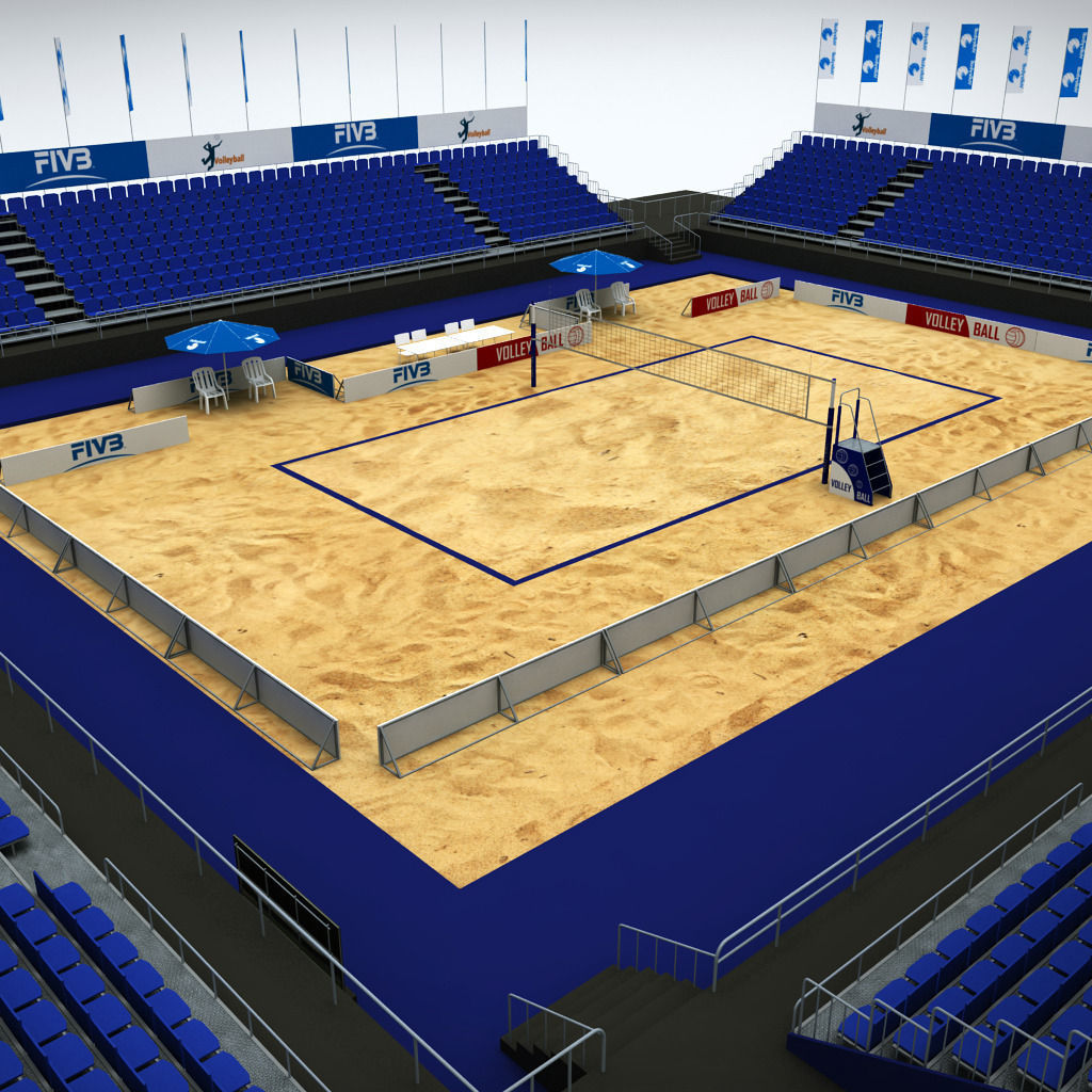 Volleyball beach court stadium high detail 3D | CGTrader