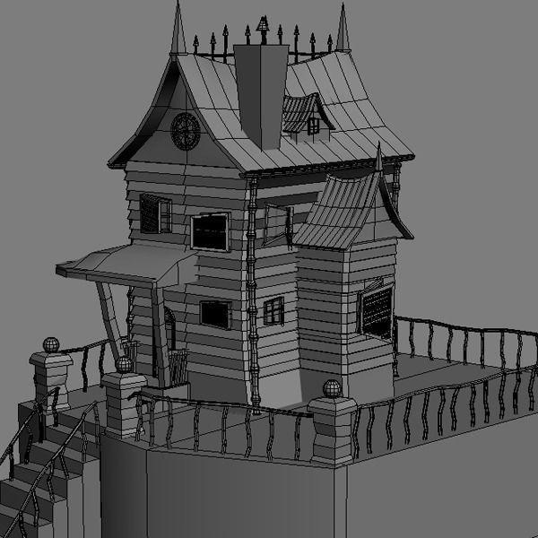 Spooky Cartoon House 3d Model Max Obj