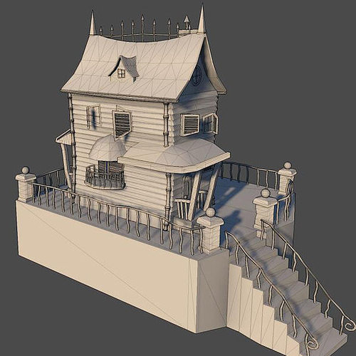 Spooky cartoon house 3d model max obj House 3d model