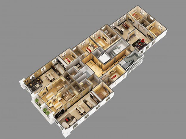 3d model cutaway residential building houses cgtrader. Black Bedroom Furniture Sets. Home Design Ideas
