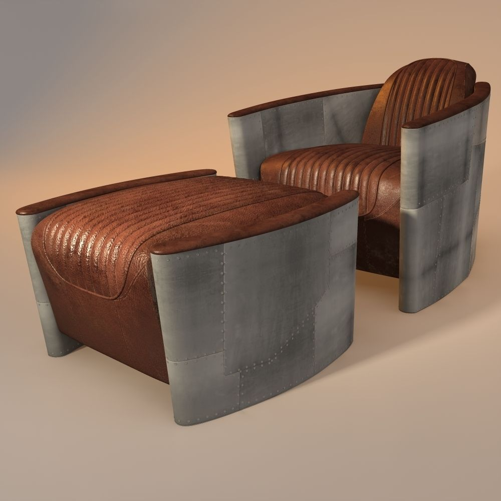 3d Model Aviator Chair And Ottoman Cgtrader