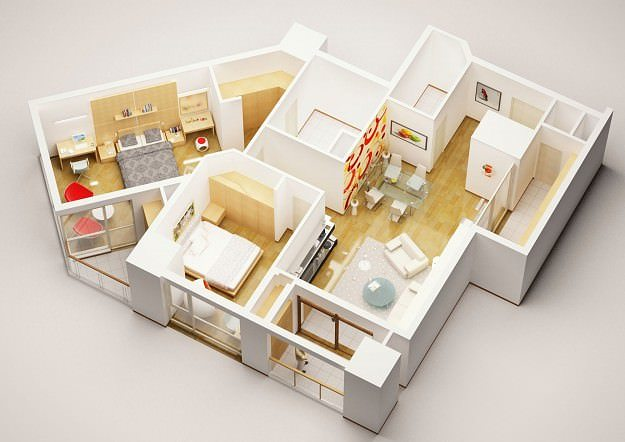 3d model detailed house interior 3 cgtrader - Model designer interiors ...