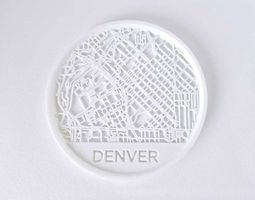028a - Drink Coaster - Denver Map - 3D printable model