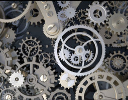 animated 3d background with metal cogwheels a clockwork