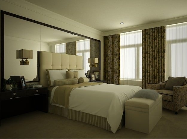 bedroom or hotel room 06 3d model animated rigged max