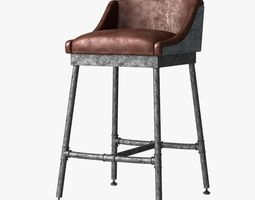 restoration hardware iron scaffold leather barstool 3d
