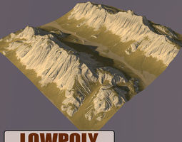 fbx Lowpoly Mountain 3D asset game-ready