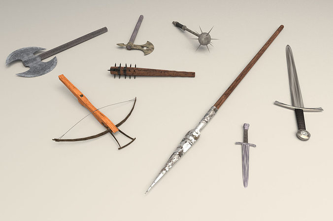 3D model medieval weapons pack CGTrader