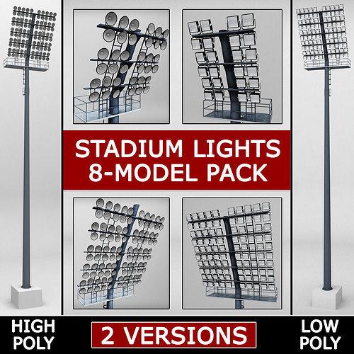 stadium light lux pack 3d model max obj mtl 3ds 1