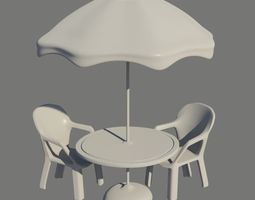 Umbrella Table and Chairs 3D