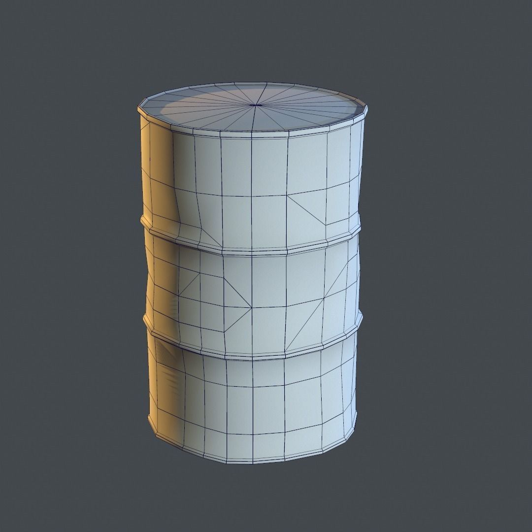 3d Model Old Oil Barrel Vr Ar Low Poly Obj Fbx Ma Mb