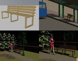 Bench - bamboo 3D model