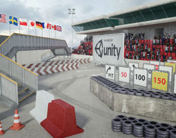 3d asset VR / AR ready this race track construction kit - add-on pack a
