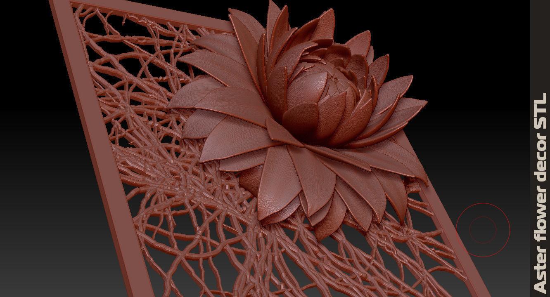 aster flower decor element STL 3D Model 3D printable MAX ...