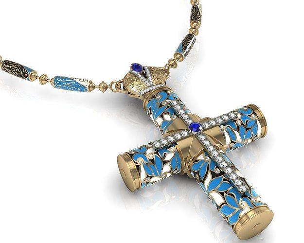 reliquary cross with stones 3d model 3dm 1