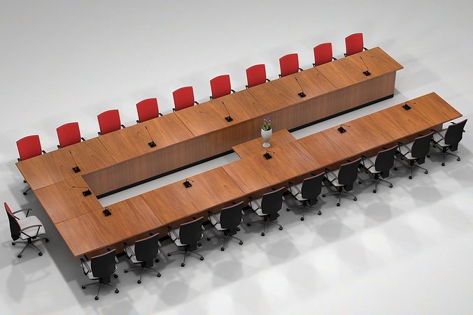 meeting table 3d model obj mtl 3ds fbx c4d 1