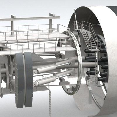 tunnel boring machine tbm 3d model 3ds lwo lw lws 5