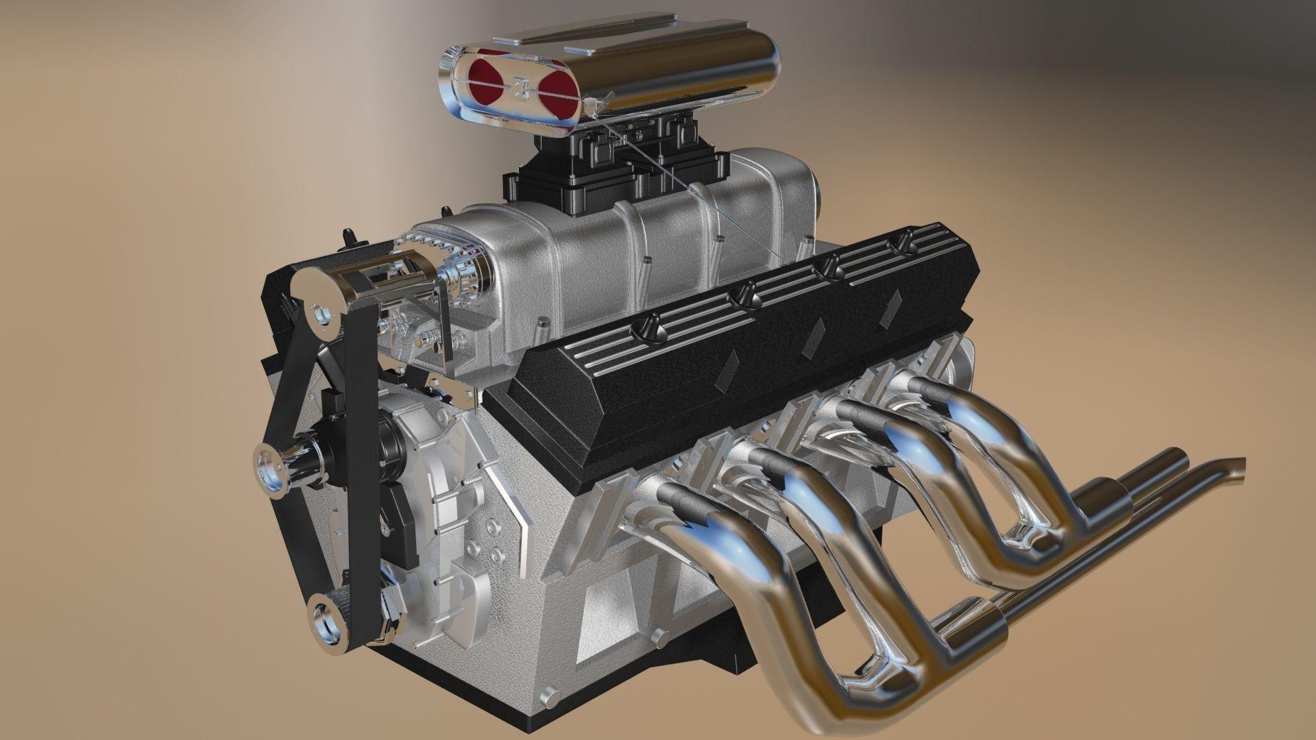 custom build v8 engine 3d model max obj 3ds lwo lw lws 3dm. Black Bedroom Furniture Sets. Home Design Ideas