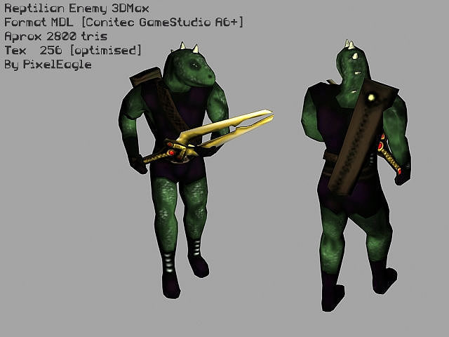 reptilian enemy game character 3d model low-poly rigged animated max 1