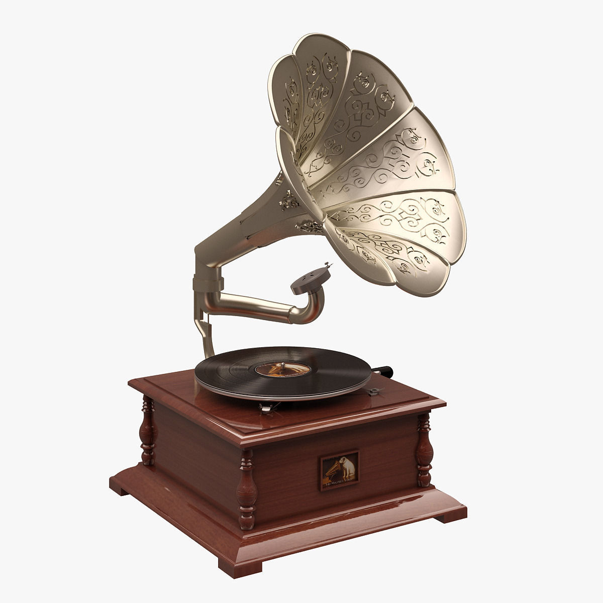 Gramaphone 002 His Masters Voice 3d Model Max Fbx