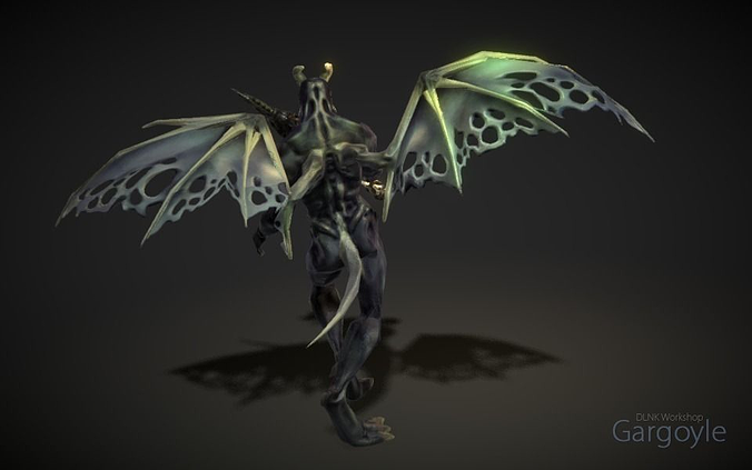 gargoyle 3d model low-poly rigged animated max fbx ztl 1