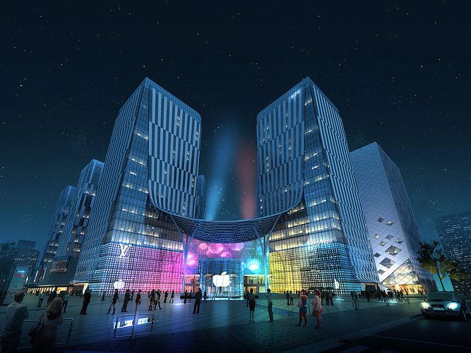 city shopping mall 3d model max tga 1