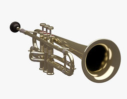 Trumpet 001 3D asset low-poly
