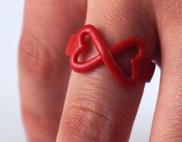 connected hearts ring 3d print model