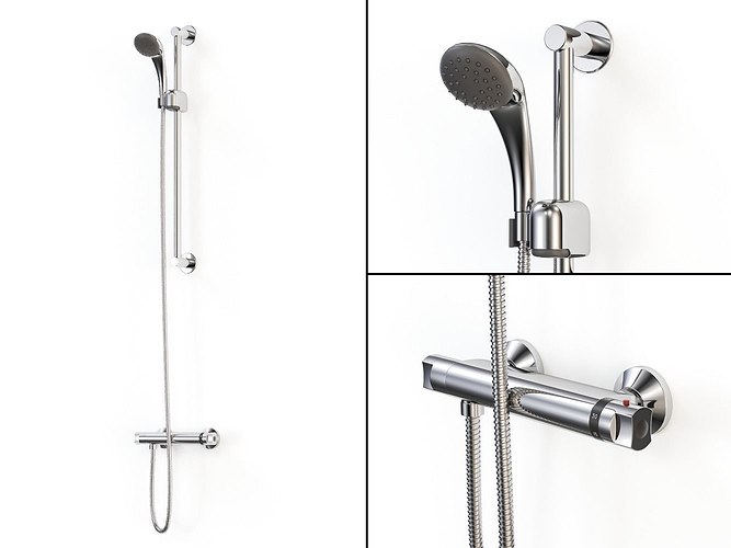 Shower Model thermostatic shower mixer 3d model max obj fbx mtl