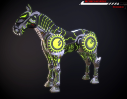 Robohorse Lowpoly rigged 3D asset VR / AR ready