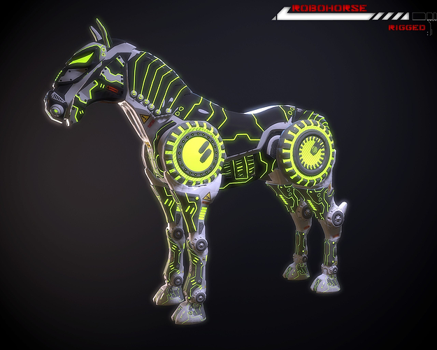 robohorse lowpoly rigged 3d model low-poly rigged max obj fbx 1