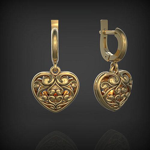 earrings heart 3d model stl 1