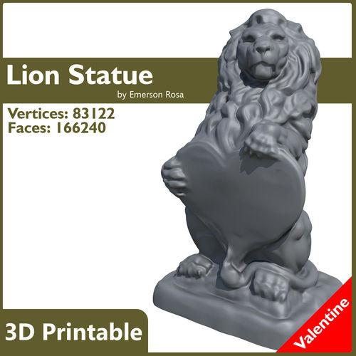valentine lion statue 3d model obj mtl fbx stl 1