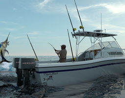 3d grady white sport fishing boat