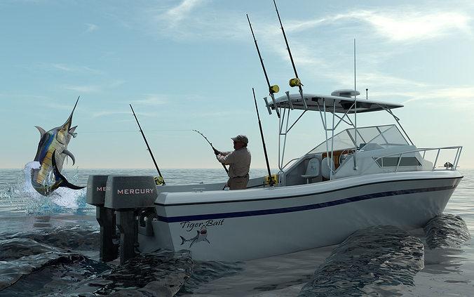 Grady white sport fishing boat 3d model cgtrader for Grady white fishing boats