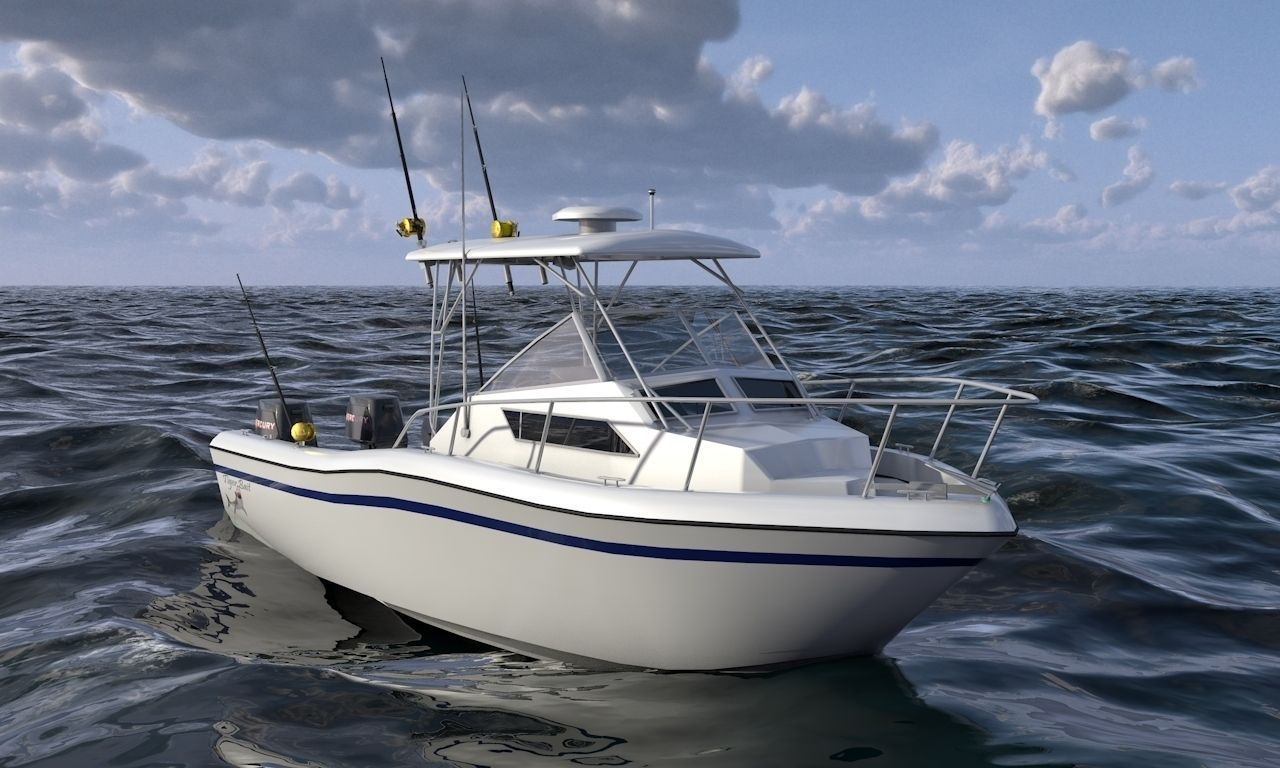 Grady white sport fishing boat 3d model max obj 3ds fbx for Sport fishing boat