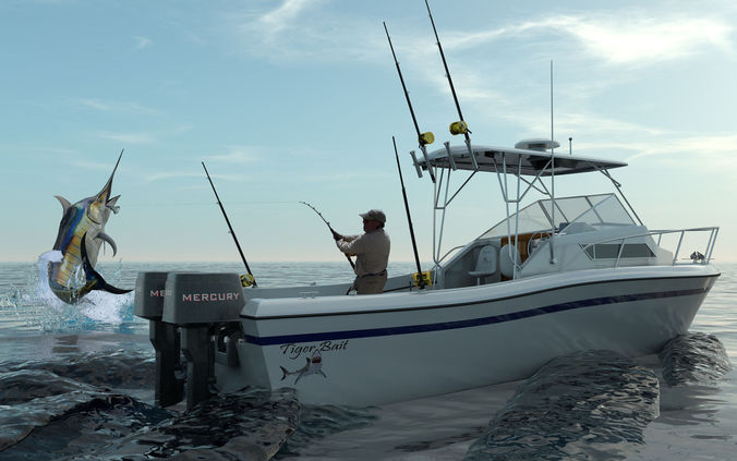 Grady white sport fishing boat 3d model max obj 3ds fbx for Fishing boat games