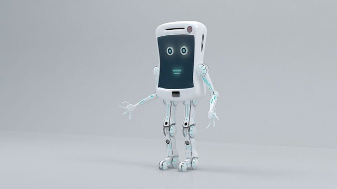 mobile robot 3d model rigged animated max 1