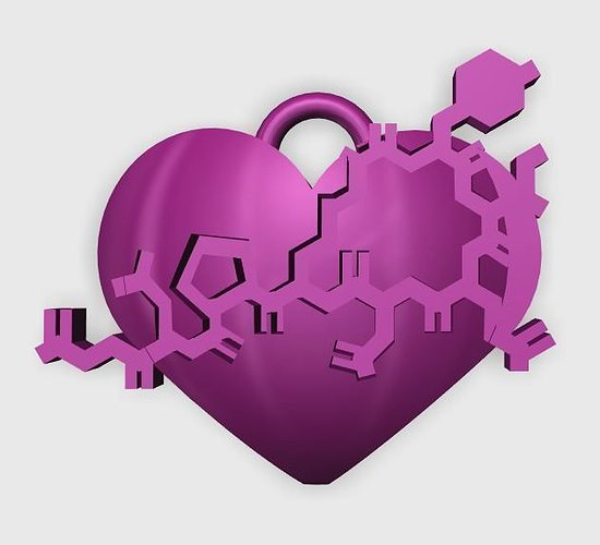 oxytocin heart pendant 3d model stl 1