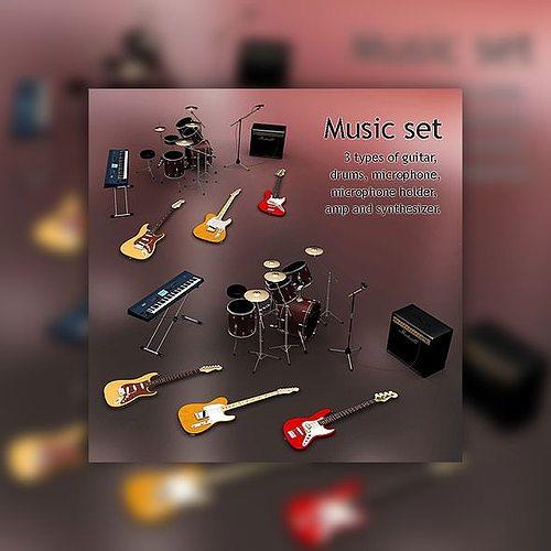 music set 3d model low-poly max obj mtl 3ds lwo lw lws 1