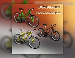 3d model VR / AR ready bicycle set