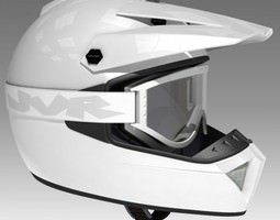 3d model motocross helmet and goggles
