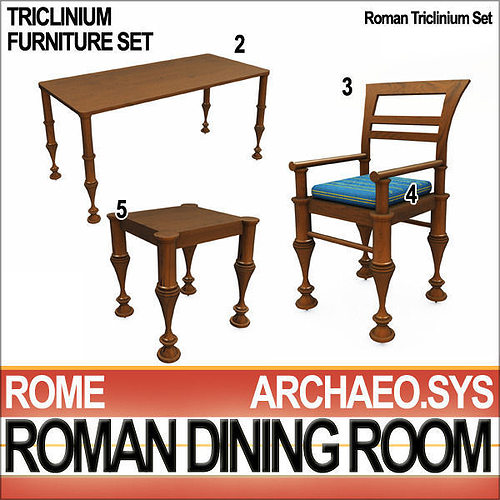 ... Ancient Roman Dining Room A Collection And Vfx 3d Model Obj 3ds C4d Vue  Mat 9 ...