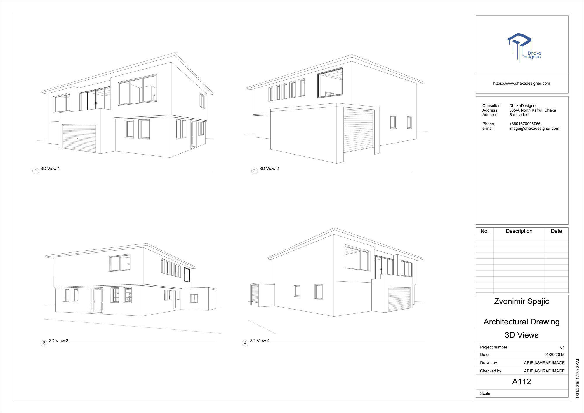 Architecture House Drawing. Architectural Drawing In Revit 3d Model Rvt  Architecture House