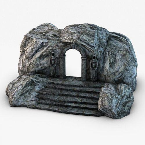 ancient entrance with stone statues 3d model max obj 3ds fbx c4d 2