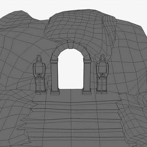 ancient entrance with stone statues 3d model max obj 3ds fbx c4d 5